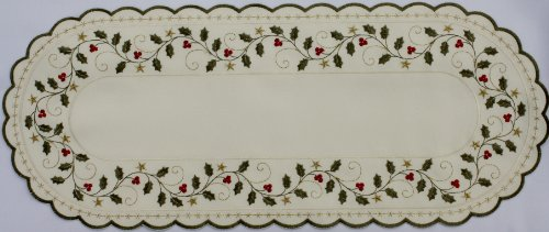(Christmas Linen. Oval Shaped and Cream Colored Doily with Holly and Gold Stars. Unique Accent with Gold)