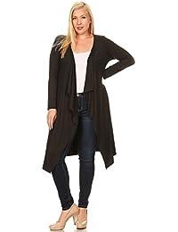 Womens Plus Size Long Sleeve Waterfall Asymmetric Drape Open Front Maxi Cardigan