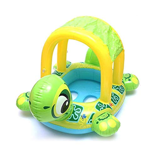 (Lantusi Baby Sunshade Swimming Ring Tortoise Shape Inflatable Seat Ring Baby Floats)