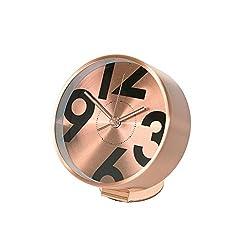 Time Concept Metal Bedside Alarm Clock - Number - Copper