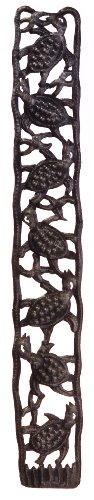 Le Primitif Galleries Haitian Recycled Steel Oil Drum Outdoor Decor, 30 by 4-Inch, Vertical Turtle Strip