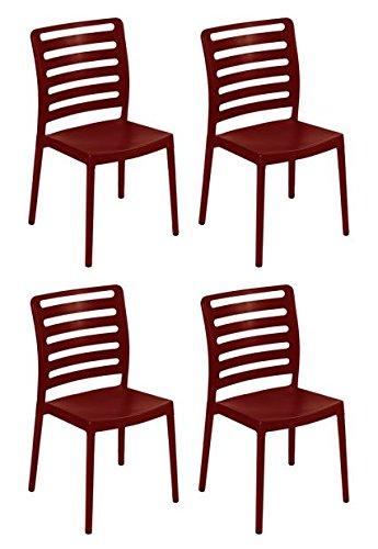 Table Bordeaux Set - Tensai Diva Chair - Durable Plastic  Covered Legs - Bordeaux - Set of 4