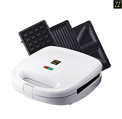 ZZ S6141B 3 in 1 Breakfast Sandwich and Waffle Press with 3 Sets of Detachable Non-stick Plates , White