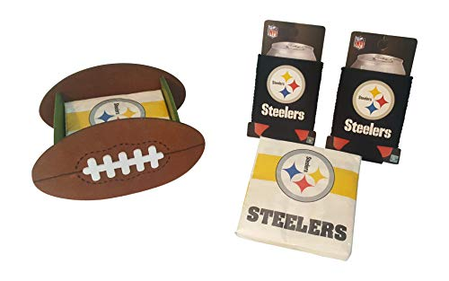 Pittsburgh Steelers Fan Set Includes 2 Can Cooler Koozies Football Shaped Cocktail Napkin Holder & 50 Logo Napkins by FAKKOS
