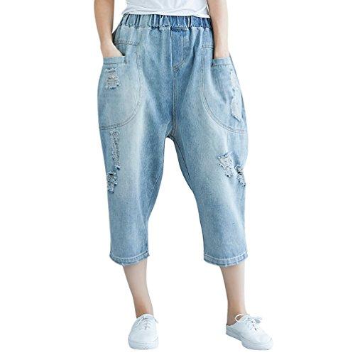 Denim 3 Capri Tasche Larga Strappati Pantaloni Jitong Jeans Blu Di Gamba Con Vita Elastica Per Donna 4 HRZzZqEwO