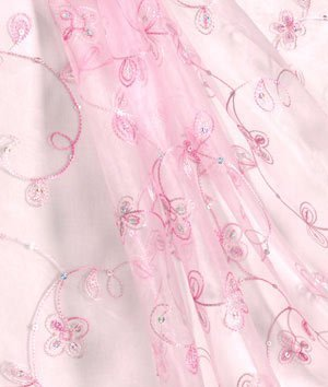 Light Pink Sequin Embroidered Organza Fabric - by the Yard