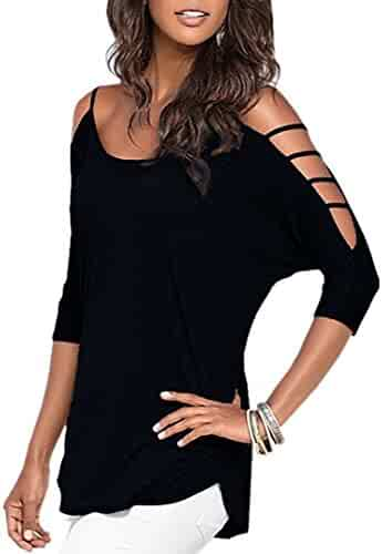 Mooncolour Womens 3/4 Sleeve Hollow Out Casual Loose Solid Blouse Tops
