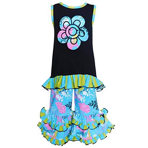 AnnLoren Baby Girls 2-3T Spring Blue Butterfly Floral Hi Low Tunic Capri Set