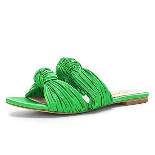 XYD Women Summer Open Toe Double Strap Slide Sandal Slippers Slip On Low Heel Flat Shoes Size 9 Lime - Lime Flop Flip Green