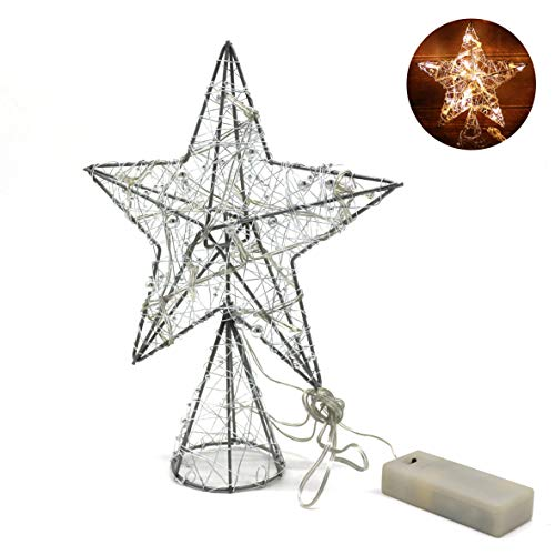 - CVHOMEDECO. Silver Flickering Tree Top Star with Bright White LED Lights and Timer for Christmas Ornaments and Holiday Seasonal Décor, 8-Inch
