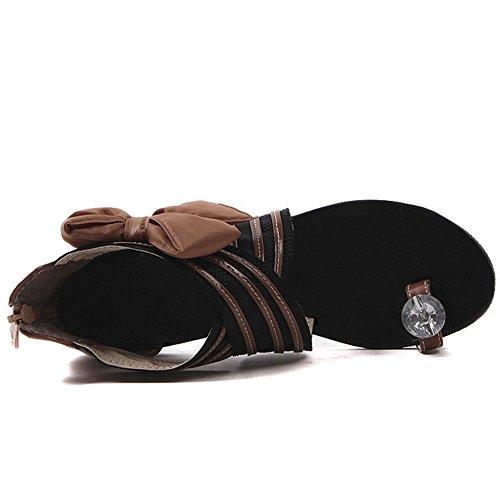 TAOFFEN women Casual Cross Criss Bowtie Zipper Flat Sandals Brown ZKHMeRwL