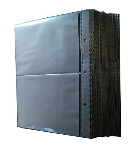 New MegaDisc 50 Pk Refill Binder Sleeves for DVD Blu-Ray Movie Storage case Replacement Black
