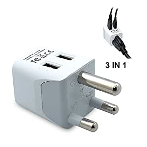 Ceptics USA to South Africa Travel Adapter Plug  With Dual USB - Type M - Ultra Compact