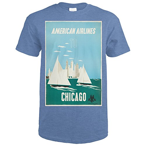 American Airlines - Chicago (artist: Kauffer) USA c. 1951 - Vintage Advertisement (Heather Royal T-Shirt Medium) (Airlines 1951 American)