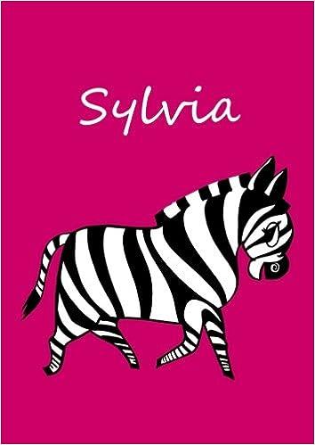 A4 pink Sylvia: Zebra personalisiertes Malbuch // Notizbuch // Tagebuch blanko