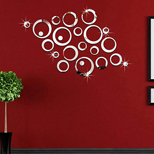 Iusun 23pcs 3D Circles Mirror Wall Stickers Paper Removable Self-Adhesive Art Mural - Mirrors Murals Adhesive Self Bathroom