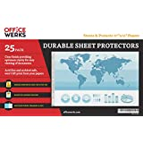 11 x 17 Sheet Protectors, Landscape View, 25 Pack, Side Loading, Protect, Store and Display 11X17 Paper, Photographs, Prints, and Documents
