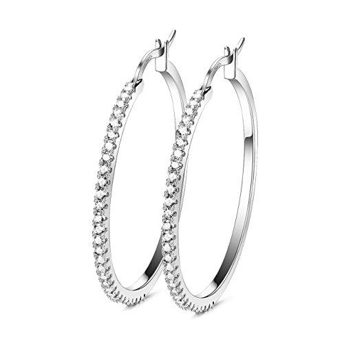 925 Sterling Silver Hoops Big Round Loops Earrings Paved Zircon Halo CZ Women Ear Jewelry (925 Sterling Silver Loop)