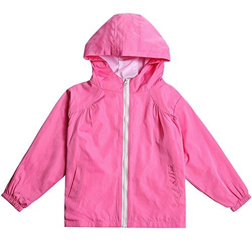STIME Children's Boys Girls Waterproof Raincoat Jacket with Hooded (6(for Age 6-8Y), Pink) (Raincoat Windbreaker)