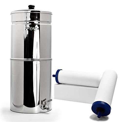 Propur King Countertop Gravity Water Filter System - Removes Fluoride, Lead, Chlorine, Microplastics, and More - Includes 2 ProOne 9-inch Filter Elements - Use in Your Home or Office