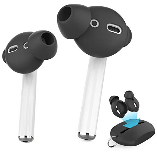 AhaStyle 3 Pairs AirPods Ear Tips Silicone Earbuds Cover【Not Fit in The Charging Case】 Compatible with Apple AirPods/AirPods 2/ EarPods (3 Pairs Small, Black)