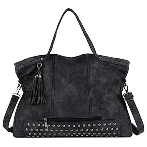 Bolso Las Bolsa Black Remache Lujo De Borla Moda Cuero Diseñador Mano Bolsos Mujeres Tuladuo Del Mujer Hombro vqR7qw