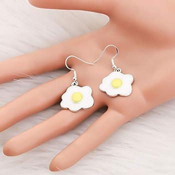 Acrylic Omelette Egg Drop Dangle Hook Earrings for Women Jewelry Gifts