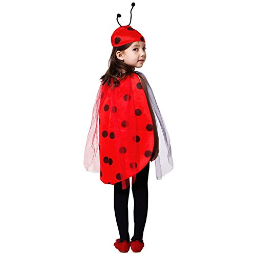 DREAMOWL Children Girls Coccinella Ladybug Halloween Costume Cosplay Fancy Dress Outfit (Ladybug Cape Costumes)