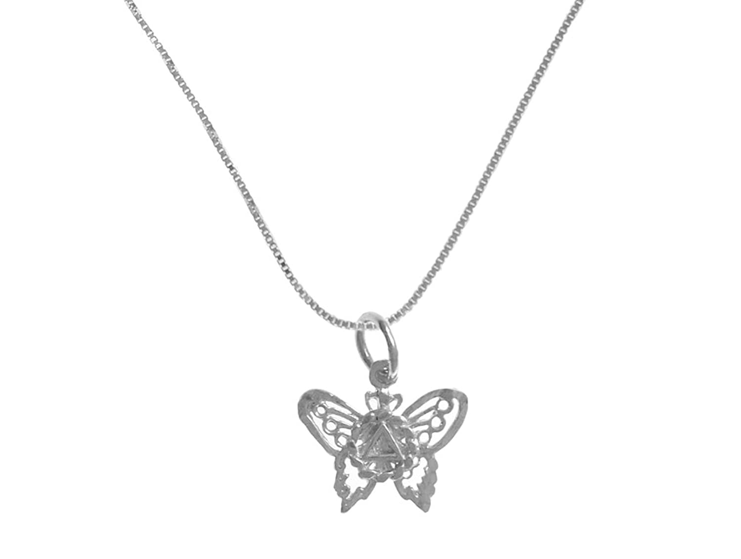 12 Step Gold Alcoholics Anonymous AA Jewelry Set, #1219, $19 - $22, AA Delicate Butterfly Pendant #978, Lt Box Chain #213, Chain Available in 3 Lengths