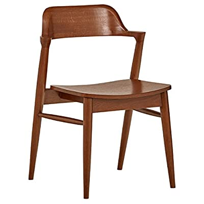 "Rivet Mid-Century Modern Low-Back Dining Chair, 30""H, Walnut - This distinctive low-backed dining chair will add the ultimate Mid-century style to your dining table. Its airy, compact profile also makes it easy to move to the living room when you need an extra seat, or to place at a desk. 20.1''W x 22.1""D x 30.3''H Solid oak legs; hardwood seat with walnut finish - kitchen-dining-room-furniture, kitchen-dining-room, kitchen-dining-room-chairs - 41pX1FcxmzL. SS400  -"