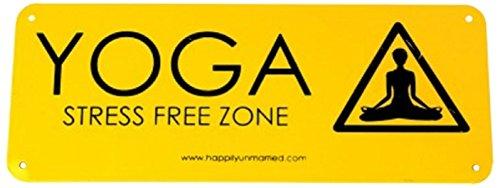 Happily Unmarried Yoga Metal Sign  22.225 cm x 29.845 cm, Yellow