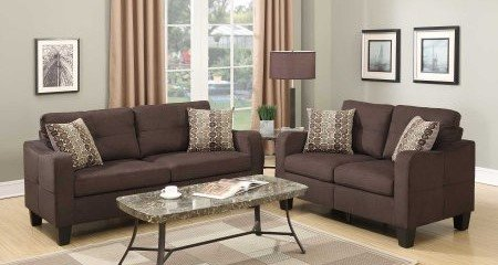 Poundex PDEX- Sectional Set, Chocolate