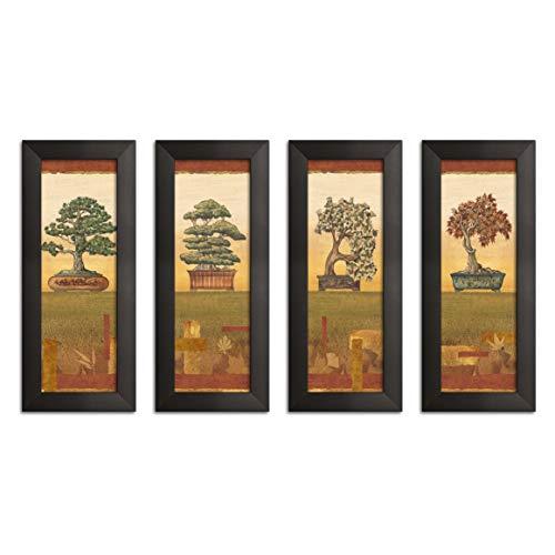 (Gango Home Décor Classic Retro Japanese Bonsai Tree Print Panels by Charlene Audrey; Four 6x18in Black Framed)