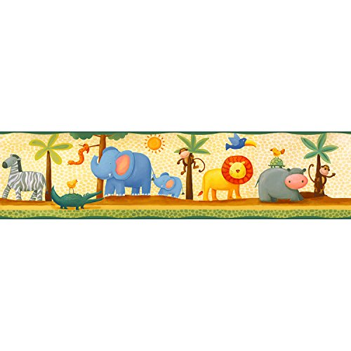 RoomMates RMK1137BCS Jungle Adventure Peel & Stick (Baby Nursery Wallpaper Border)