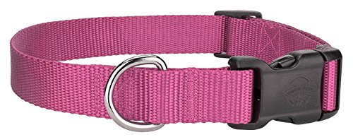 Scott - Adjustable Rose Pink Rib Nylon Dog Collar - Size: X-Large 18