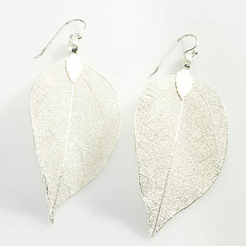 4c24ed262e3d Pendientes hojas naturales bañadas en Plata de Ley  Amazon.es  Handmade