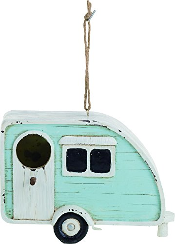 Transpac Imports, Inc. Country Blue Camper Trailer 8.5 x 6 inch Resin Stone Birdhouse ()
