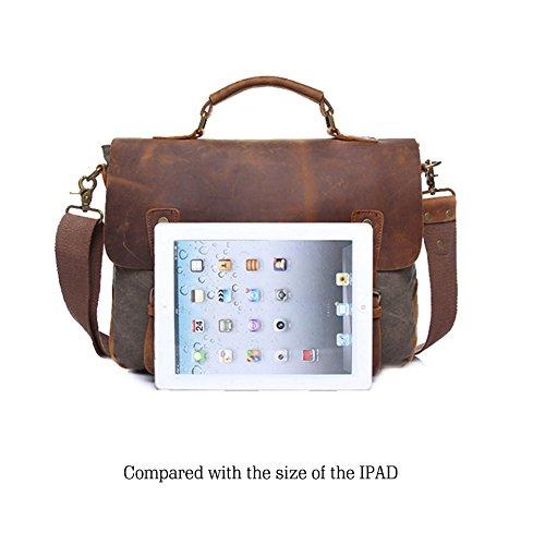 Yoome Herren Aktentasche Vintage Leder Laptop Tasche Canvas Messenger Schulranzen Arbeitstaschen Fit bis 15,6-Zoll - Brown Khaki