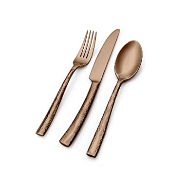 Hampton Forge Essenstahl Paris Titan 20-Piece Flatware Set, Hammered Copper, EFB89C20QT