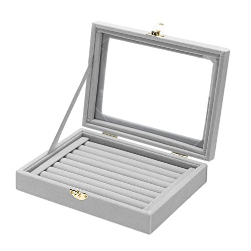 MENGCORE New Jewelry Ring Display Box Tray Holder Storage Box Organizer with Glass Cover (Gray)