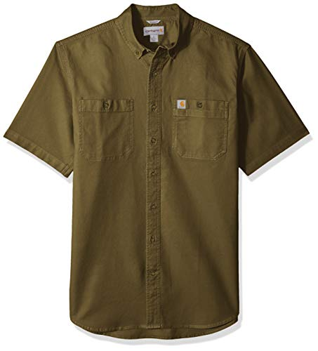 Carhartt Men's Big and Tall Big & Tall Rugged Flex Rigby Short Sleeve Work Shirt, Military Olive, ()