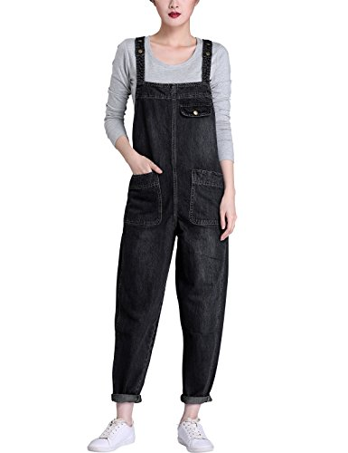 Yeokou Women's Casual Denim Cropped Harem Overalls Pant Jeans Jumpsuits (Large, Black)