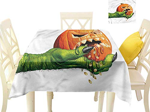 Davishouse Flow Spillproof Fabric Tablecloth Scary Halloween Monster Waterproof/Oil-Proof/Spill-Proof Tabletop Protector W50 x -
