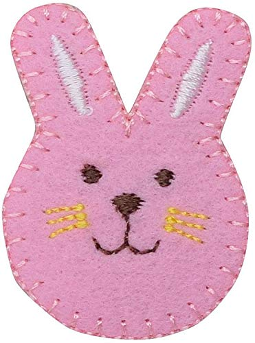 (Pink Easter Bunny Rabbit Face Iron on Embroidered Patch)