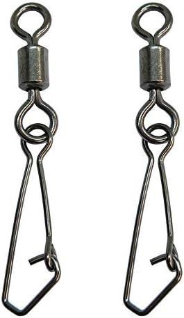 100個 フックスナップ付き釣り用スイベルステンレス鋼の淡水釣り海釣り道具