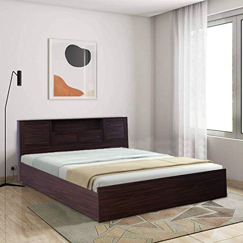 HomeTown Bolton Engineered Wood Box Storage Queen Size Bed in Walnut Colour