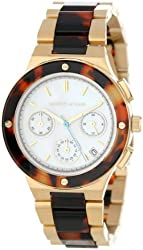 Kenneth Jay Lane Women's KJLANE-2102  Chronograph Mother-Of-Pearl Dial Gold Ion-Plated Stainless Steel and Brown Tortoise Resin Watch