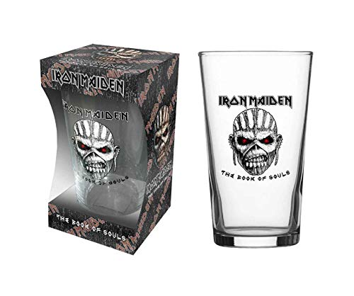 - Iron Maiden Pint Glass Book Of Souls Eddie Band Logo Official Boxed