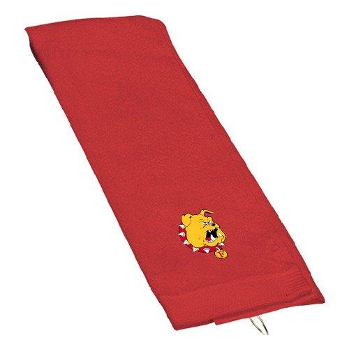(CollegeFanGear Ferris State Red Golf Towel 'Bulldog Head' )