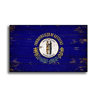 Ruskin352 Kentucky State Wood Flag Sign Flags Wooden Handmade Home Wall Decor Print Printed Sign Decor Sign Wall Store Signs